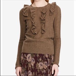 NWT Polo Ralph Lauren Cable Knit Wool Sweater L